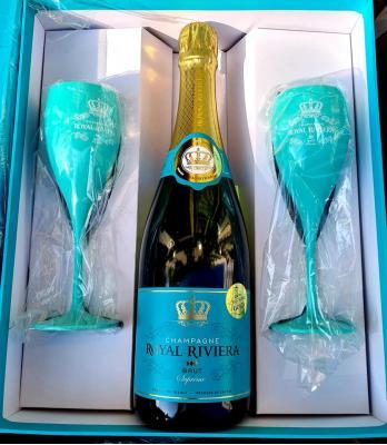 Royal Riviera Champagne Brut Suprême 12,5% Vol. 0,75l in Geschenkbox mit 2 Gläsern